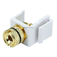 Product Image for Keystone Jack - Banana Jack w/Black Ring (Solder Type) - White