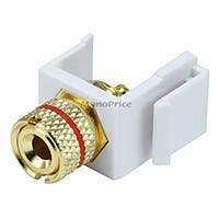 Product Image for Keystone Jack - Banana Jack w/Red Ring (Solder Type) - White 
