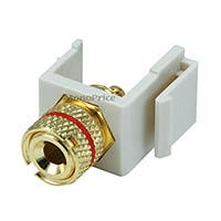 Product Image for Keystone Jack - Banana Jack w/Red Ring (Solder Type) - Ivory