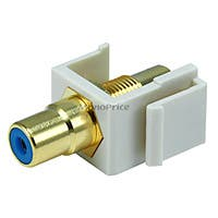 Product Image for Keystone Jack - Modular RCA w/Blue Center (Ivory)