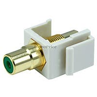 Keystone Jack - Modular RCA w/Green Center (Ivory)