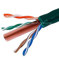Product Image for 1000FT 23AWG Cat6 500MHz UTP Solid, Riser Rated (CMR), Bulk Ethernet Bare Copper Cable - Green