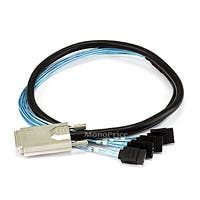 1m 28AWG External SAS 34pin (SFF-8470) Male to SATA 7pin Female w/ Latch (x4) Forward Breakout Cable - Black