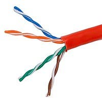 Product Image for  1000FT 24AWG Cat5e 350MHz UTP Stranded, In-Wall Rated (CM), Bulk Ethernet Bare Copper Cable - Red