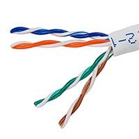 1000FT 24AWG Cat5e 350MHz UTP Stranded, In-Wall Rated (CM), Bulk Ethernet Bare Copper Cable - White