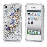 Blue & White Forget-Me-Not 3D Crystal iPhone� 4/4S Case