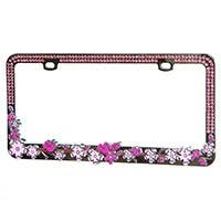 Product Image for Chrome Metal License Plate Frame w/ Pink Diamante Rhinestones and Pink Pearlescent Cherry Blossoms
