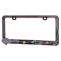 Product Image for Chrome Metal License Plate Frame w/ Purple Diamante Rhinestones and Mini Pearlescent Hearts