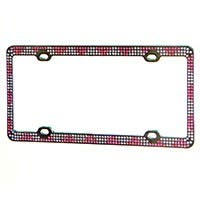 Product Image for Chrome Metal License Plate Frame w/ White and Pink Diamante Rhinestones