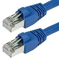 35FT 24AWG Cat6A 500MHz STP Bare Copper Ethernet Network Cable - Blue