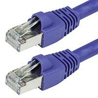 35FT 24AWG Cat6A 500MHz STP Bare Copper Ethernet Network Cable - Purple