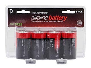 Product Image for Monoprice D Alkaline Battery 8-Pack