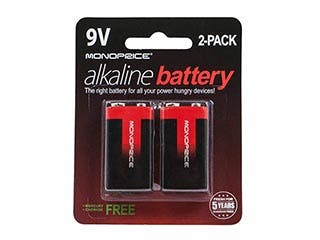 Product Image for Monoprice 9V Alkaline Battery, 2-Pack