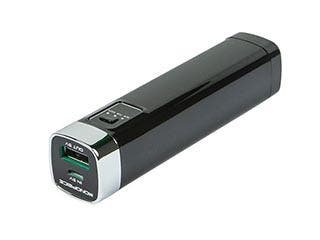 Product Image for Battery Backup and LED Flashlight for iPhone®, iPod®, and other USB Mobile Devices (2600mAh) - Black