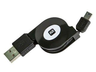 Product Image for USB 2.0 Retractable Cable - A Male to Mini 5-Pin - 2.5 Ft