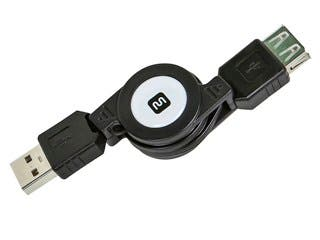 Product Image for USB 2.0 Retractable Cable - A Male to A Female - 2.5 Ft