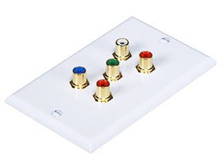 Product Image for 5 RCA Component Two-Piece Inset Wall Plate (RGB + Audio) - Coupler Type