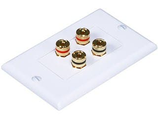 Product Image for High Quality Banana Binding Post Two-Piece Inset Wall Plate for 2 Speakers - Coupler Type