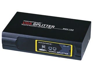 Product Image for 2-Way SVGA VGA Splitter Amplifier Multiplier 400 MHz - Black