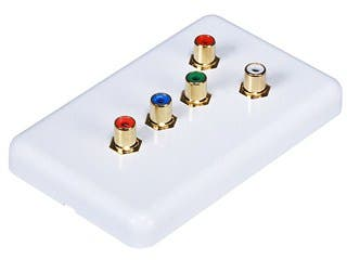 Product Image for 5 RCA Component Wall Plate (RGB + Audio) - Coupler Type