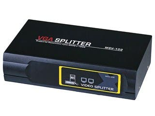Product Image for 2-Way SVGA VGA Splitter Amplifier Multiplier 400 MHz - Black (No Logo)