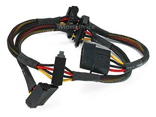 Product Image for 24inch 4pin MOLEX Male to (4) 15pin SATA II Female Power Cable (Net Jacket)