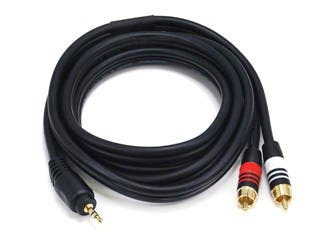 Product Image for 6ft Premium 3.5mm Stereo Male to 2RCA Male 22AWG Cable (Gold Plated) - Black