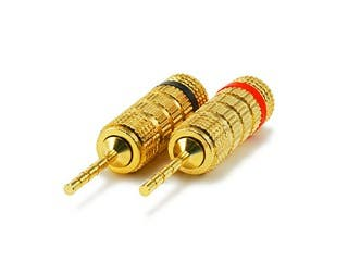 Product Image for 1 PAIR OF High-Quality Gold Plated Speaker Pin Plugs, Closed Screw Type