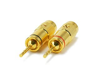 Product Image for 1 PAIR OF High-Quality Gold Plated Speaker Pin Plugs, Pin Crimp Type (Heavy Duty)
