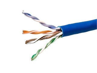 Product Image for 1000FT 24AWG Cat5e 350MHz UTP Solid, Plenum (CMP), Bulk Ethernet Bare Copper Cable - Blue