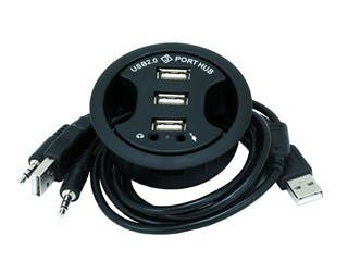 Product Image for 3-Ports USB 2.0 HUB with Audio (In-Desk)