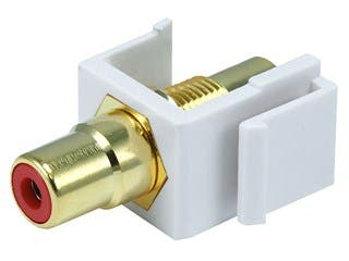 Product Image for Keystone Jack - Modular RCA w/Red Center (White)