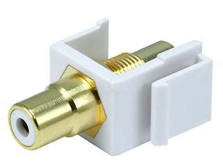 Product Image for Keystone Jack - Modular RCA w/White Center (White)