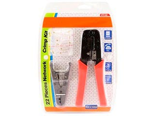 Product Image for RJ-45/RJ11 Stripping and Crimping Tool Kit w/ Modular Plugs
