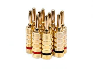 Product Image for 5 PAIRS Of High-Quality Gold Plated Speaker Banana Plugs, Closed Screw Type
