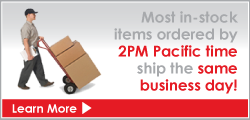Most in-stock items ordered by 1PM Pacific time ship the same business day!