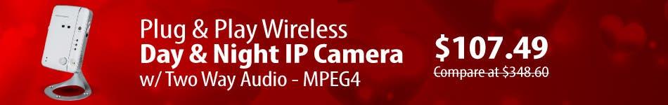 Plug & Play Wireless Day & Night IP Camera w/ Two Way Audio - MPEG4                         $107.49