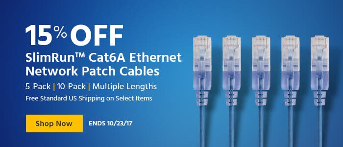 15% OFF SlimRun Cat6A Ethernet Network Patch Cables