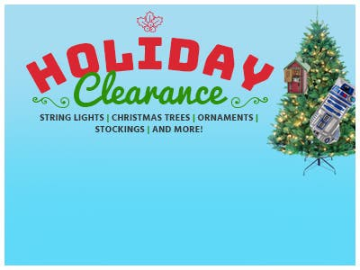 Holiday clearance, up to 50% off, shop now