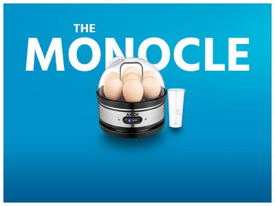 The monocle, One Day. One Deal, Aicok Egg Cooker, Egg Boiler, Electric Egg Maker with Steamer & Poacher Attachment | $14.99 + Free Standard US Shipping