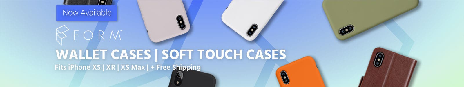 FORM, wallet cases, soft touch cases, fits iphone xs, xr, xs max, plus free shipping