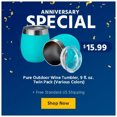 Anniversary Sale, Pure Outdoor Wine Tumbler, Various colors. shop now