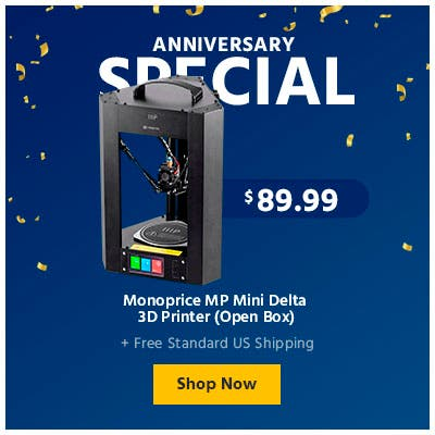 Anniversary Sale, Monoprice MP Mini Delta 3d printer (open box), shop now