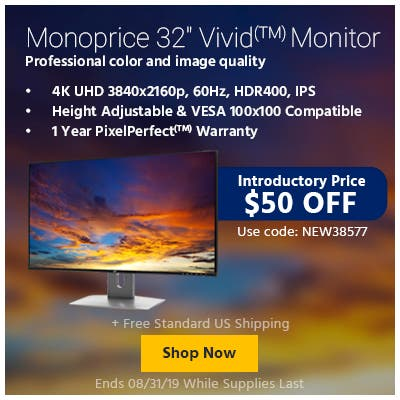 "Introductory Price $50 OFF | Use Code: NEW38577  Monoprice 32"" Vivid(TM) Monitor Professional color and image quality  4K UHD 3840x2160p, 60Hz, HDR400, IPS  Height Adjustable & VESA 100x100 Compatible"