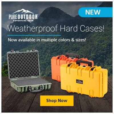 Pure Outdoor weatherproof hard cases. Now available in multiple colors and sizes.