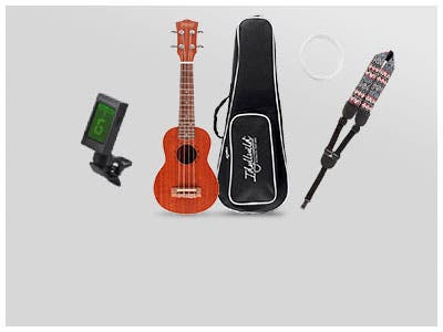 NEW Idyllwild (Logo) Sapele Soprano Ukulele Kit A complete ukulele package with everything you need!
