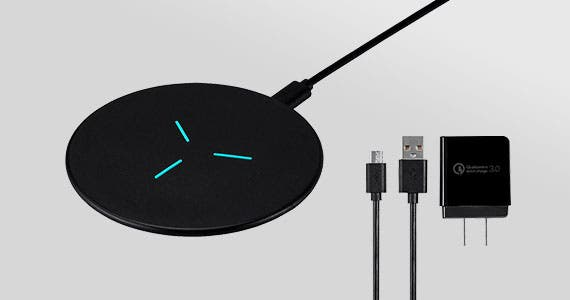 16.99 Monoprice Qi Certified Fast Wireless Charging Pad Kit Simply your life and lose the mess of cables!  Qualcomm® Quick Charge™ 3.0 Compatible Wall Charger included. Shop Now