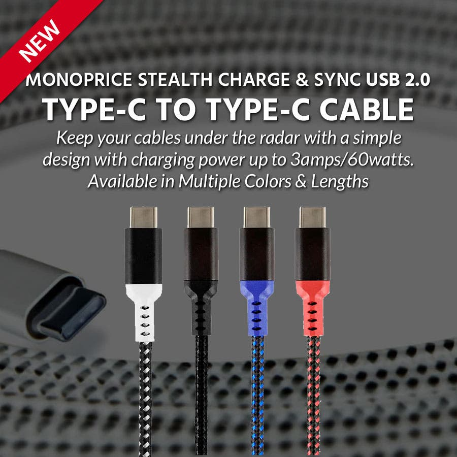 Monoprice Stealth Charge & Sync USB 2.0 Type-C to Type-C Cable  Keep your cables under the radar with a simple design with charging power up to 3amps/60watts.  Available in Multiple Colors & Lengths