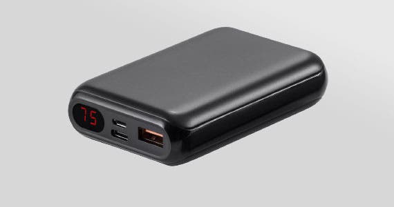 15% off (tag)  Obsidian™ Speed Plus  EZ Read Power Banks     · 4 to 8 phone charges with capacities of 10,000mAh & 20,000mAh  · 2 ports and up to 18 watts of charging power for all mobile devices  · E