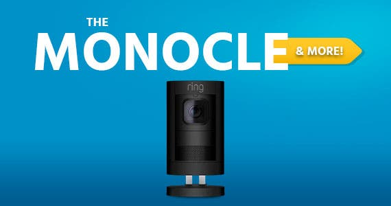 The Monocle. & More One Weekend. One Deal. Ring - Stick Up Indoor/Outdoor Wire free Security Camera - Black 2nd Gen - 8SS1S8-BEN0 $129.99 + Free Standard US Shipping  Ends 06/07/20 While Supplies Last